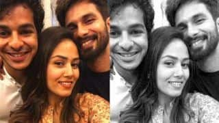 Mira Rajput Poses for a Selfie with Shahid Kapoor and Ishaan Khatter During Beyond The Clouds Screening