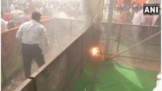 रायबरेली पहुंचे अमित शाह, मंच के पास लगी आग, भगदड़