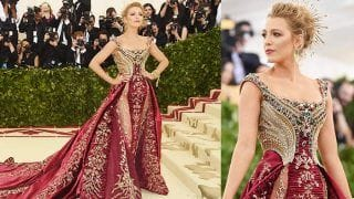 Blake Lively Walked Met Gala Red Carpet in Versace Sans Ryan Reynolds