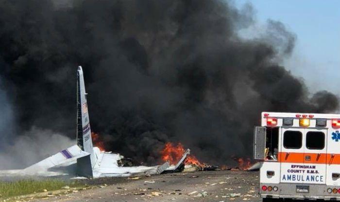 US military plane Hercules C-130 Crashes