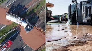 Chocolate, Chocolate Everywhere! Tons of Chocolate Spills From Tanker Truck; Makes For Sweet Mess On Highway in Poland