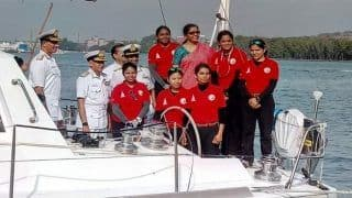 INS Tarini With All-Women Crew Returns to Goa After Circumnavigating Globe in 8 Months