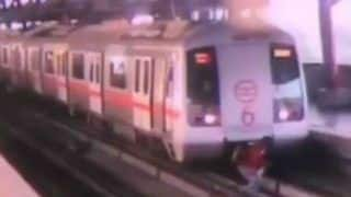 Watch: Train Stops Short of Running Over Man Crossing Delhi Metro Track at Shastri Nagar Station; Tragedy Averted