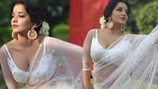 Bhojpuri Actress Monalisa Aka Jhuma Boudi Looks Her Hottest in a See-through Saree