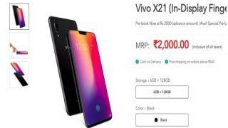 इनडिस्प्ले फिंगरप्रिंट सेंसर वाले Vivo X21 की प्री बुकिंग भारत में शुरू