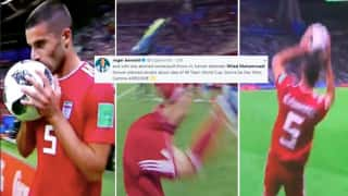 Iran's Milad Mohammadi Kisses The Ball And Then Tries A Somersault Against Spain is The Weirdest Moment Ever in FIFA World Cup History