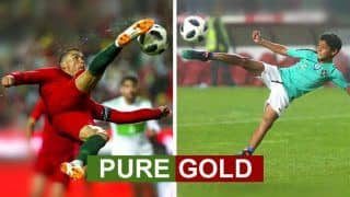 FIFA World Cup 2018 Algeria vs Portugal: Watch Cristiano Ronaldo's Son Score A GOAL, Reminds us of David Beckham