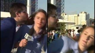 FIFA World Cup 2018: After Colombian Journo, Brazilian Reporter Julia Guimaraes Nearly Gets KISSED by Fan on LIVE TV -- WATCH