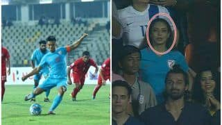 India v Kenya Intercontinental Cup 2018: Picture of Sunil Chhetri's Wife Sonam's Reaction After His Brace Helps India Thrash Kenya in His 100th International is EPIC