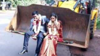Karnataka Man Takes His Wife on JCB Vehicle Post-Wedding; Pictures Go Viral
