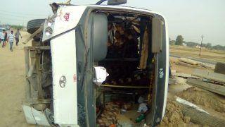 हादसा: पुलिस भर्ती परीक्षा देने जा रहे अभ्यर्थियों से भरी बस पलटी, एक की मौत, 20 जख्मी
