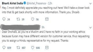 Airtel Gives in to Customer's Demand For 'Hindu Customer Service Representative', Faces Backlash From Twitterati