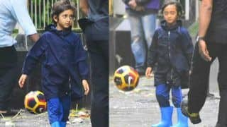 Aamir Khan's Son, Azad Khan, SPOTTED Enjoying a Game of Football in the Rain - View Pics