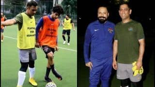Former Indian Captain MS Dhoni, 'Dhadak' Star Ishaan Khattar Play Football -- PICS