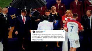 2018 FIFA World Cup Final: Twitter Trolls Russia as Vladimir Putin Gets Umbrella Amid Rains, Croatian Counterpart Kolinda Grabar-Kitarovic Gets Drenched During France & Croatia