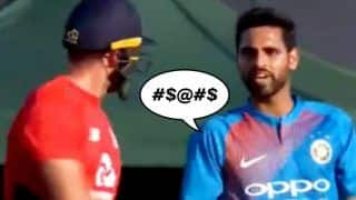 India vs England, 1st T20I: Bhuvneshwar Kumar-David Willey Engage in a Verbal Duel -- WATCH