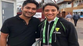 India Opener Smriti Mandhana Meets Legend Kumar Sangakkara After Record-Equalling Half-Century in Taunton | WATCH