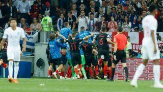 FIFA World Cup 2018: Croatian Players Crash Into Photographer, Kiss Him While CelebratingMario Mandzukic's Extra Time Winner Against England