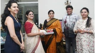 NTR's Family Greets Vidya Balan With Saree At Their Residence