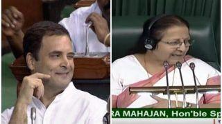 पीएम मोदी से गले मिले, फिर लौटकर मारी आंख...राहुल गांधी की सुमित्रा ताई ने की खूब खिंचाई