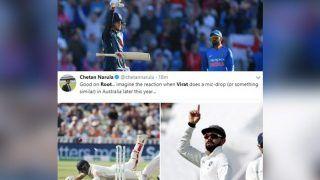 India vs England 1st Test Day 2 Edgbaston: Joe Root Finally Reacts to Virat Kohli's Gesture to His Opposite Number's Mic-Drop