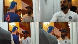 India vs England 3rd Test Nottingham: Virat Kohli-Led India Shake Hands With Ben Stokes And English Cricket Team in Dressing Room -- WATCH