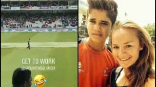 India vs England 2nd Test Day 4 Lord's: English Cricketer Danielle Wyatt Cheers For Sachin Tendulkar's Son Arjun During rain Break -- WATCH