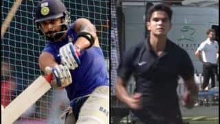 India vs England 2nd Test Lords: Sachin Tendulkar's Son Arjun Tendulkar Bowls to ICC No 1 test Batsman Virat Kohli During Net Practice -- WATCH