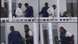India vs England Tests: ICC No 1 Test Batsman Virat Kohli Gives Champagne Bottle to Coach Ravi Shastri After Nottingham Win For Celebration -- WATCH