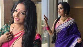 Bhojpuri Hotness Monalisa Aka Antara Biswas Looks Her Sexiest Best in Hot Pink Banarasi Saree- View Picture