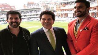 India vs England 2018, 2nd Test: Bollywood Actor Ranveer Singh and Director Kabir Khan Meet 'God of Cricket' Sachin Tendulkar at Lord's