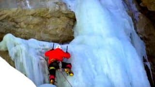 Watch this fascinating video of how India's first frozen waterfall was scaled!