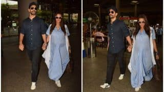 Neha Dhupia Flaunts Her Baby Bump as She Walks Hand-in-Hand With Husband Angad Bedi, See Pics