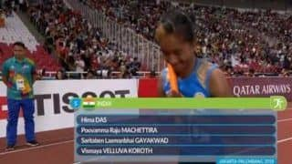 Asian Games 2018: Indian Women's Team Comprising Hima Das, Poovamma Raju Machettira, Saritaben Laxmanbhai Gayakwad And Vismaya Velluva Koroth Win Gold in 4X400m Relay Race
