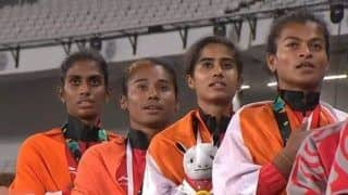 Asian Games 2018: Indian Women's Team Comprising Hima Das, Poovamma Raju Machettira, Saritaben Laxmanbhai Gayakwad And Vismaya Velluva Koroth Win Gold in 4X400m Relay Race--Watch Video