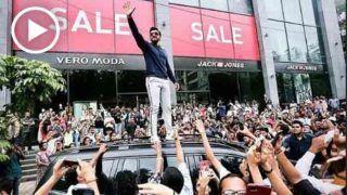 स्टोर से बाहर निकलते ही कार की छत पर चढ़े रणवीर सिंह, देखें मजेदार VIDEO
