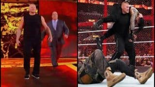 Hell in a Cell: When WWE Star Brock Lesner Made an Entry During Roman Reigns, Braun Strowman Match in Special Guest Referee Mick Foley's Presence -- WATCH