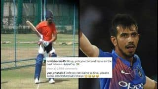 Asia Cup 2018: India Captain Rohit Sharma Shows Solid Defense in Nets, Yuzvendra Chahal Passes Batting Tips -- WATCH