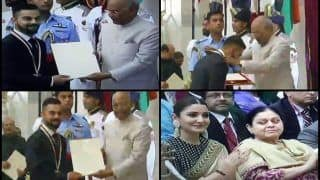 President Ram Nath Kovind Presents Khel Ratna Award to India Captain Virat Kohli, Anushka Sharma Also Present -- WATCH