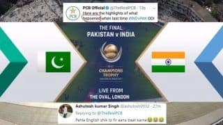 Asia Cup 2018: India vs Pakistan 5th ODI -- Pakistan Tries to Troll India With 2017 Champions Trophy Video Posted by ICC, Gets Spelling Wrong, India Fans Get Back