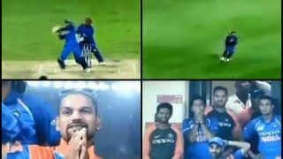 Asia Cup 2018 Super Four, India vs Afghanistan: When Rashid Khan Dismissed Ravindra Jadeja to Tie Match, Check Out For Shikhar Dhawan, Team India's Reaction -- WATCH