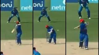 India vs Afghanistan Match 5, Asia Cup 2018 Super Four: When Centurion Mohammad Shahzad Smashed Debutant Deepak Chahar For 17 Runs in One Over, it Includes a MS Dhoni Helicopter as Well -- WATCH