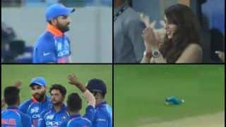 Asia Cup 2018: India vs Hong Kong 4th ODI -- Rohit Sharma Takes Low Catch to Dismiss Anshuman Rath of Kuldeep Yadav, Ritika Sajdeh's Reaction Steals Show -- WATCH
