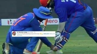 India vs Afghanistan Match 5, Asia Cup 2018 Super Four: Ravindra Jadeja Tying Mohammad Shahzad's Shoe Laces is Winning The Internet -- PIC