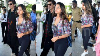 Suhana Khan Wears Short Check Shirt And Tights With Shah Rukh Khan at Airport; Check Their Latest Pics