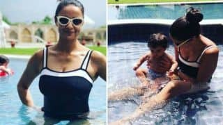 Gul Panag Takes a Dip in The Pool Along With Her Son Nihal During Exotic Jaipur Vacation - View Pictures