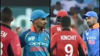Asia Cup 2018, India vs Hong Kong 4th ODI: Hong Kong Players Show Great Sportsmanship, Congratulates Shikhar Dhawan After His Record-Breaking 14th Hundred | WATCH