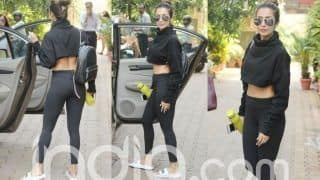 Malaika Arora Wears a Black Crop Top With Sheer Tights And Looks as Hot as Ever Outside Gym; See Latest Pics