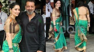 Sanjay Dutt's wife, Manyata Dutt Looks Ravishing in a Green Saree And Backless Blouse at Arpita Khan's Ganpati Puja; See Latest Pics