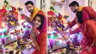 Bhojpuri Hot Bomb And Nazar Fame Monalisa Celebrates Ganesh Chaturthi in Most Traditional Way With Husband Vikrant Singh Rajput - See Pictures